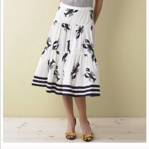 NWT J. Crew Tiered A-line Lobster Nautical Skirt